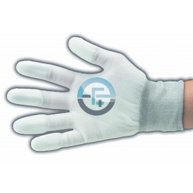ESD Dissipative Nylon Light Gloves finger tips PU coated / white