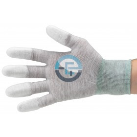 ESD Dissipative Nylon Light Gloves finger tips PU coated / grey